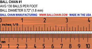 Ball chain sizes bead chain sizes size chart 1 chain 1 chain ruler 300 greentooth Image collections