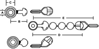 This is the engineering diagram of our ball chain coupling and how it attaches to the made in the usa bead chain that we supply