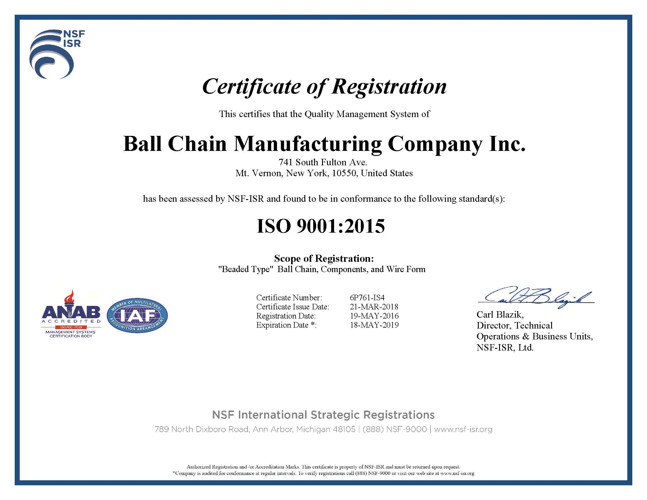 Ball chain is ISO 9001:2015 certified by NSF ISR