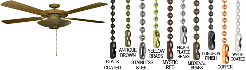 Ceiling fan pull chains made by ball chain manufacturing. This image show the different finishes our pull chains come in: black coated, antique brown, stainless steel, yellow brass, mystic red, nickel plated brass, medieval brass, dungeon finish, copper, and white coated.