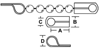 D Coupling Diagram ilustrating how the d coupling is used to connect ball chain to a retaining device. Shows multiple angles.