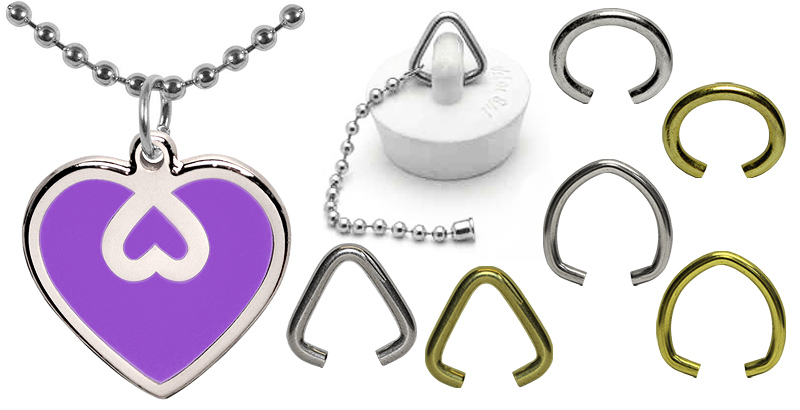 Jump rings manufactured by ball chain manufacturing. Brass plated steel and nickel plated steel in oval shape, triangle shape, or round shape.