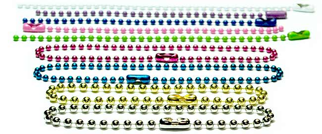 Ball chain key chains made in a variety of colors, sizes, and materials. The original ball chain / bead chain key chain.