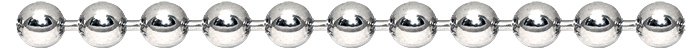 An image of the nickel plated steel ball chain and bead chain finish.