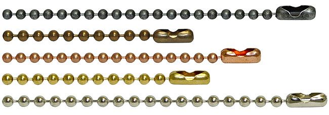 Precut ball chain lengths in multiple finishes. This image shows, dungeon ball chain, stainless steel ball chain, copper bead chain, yellow brass bead chain, and antique brown ball chain.